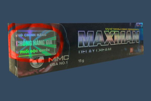 Tem chống giả trên kem bôi Maxman